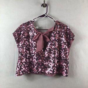 fe9ffe2f22c45c Tops - Rose gold pink sequin XL crop top bow back NWOT